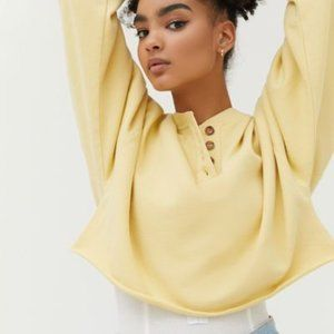 UO Washed Cropped Henley Top Yellow NWT